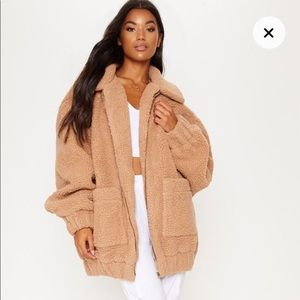 PrettyLittleThing Borg Camel Oversized Teddy Coat